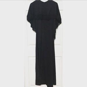 Vintage 70s Capelet Fringe Gown